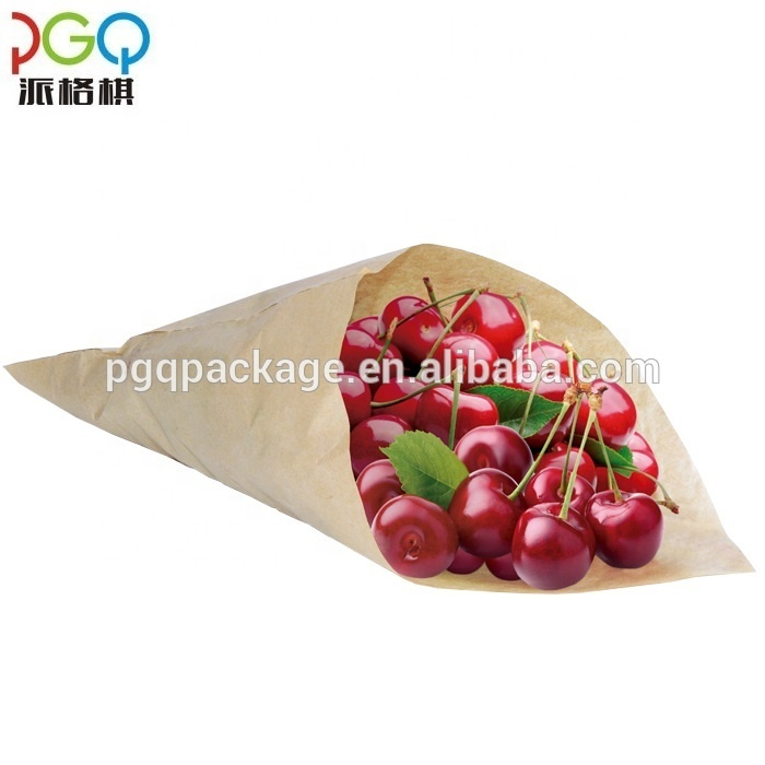 25*15*1 Customized recyclable sharp bottomed paper bag for fruit